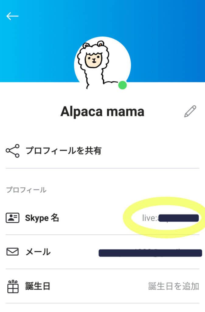 Skype名確認画面