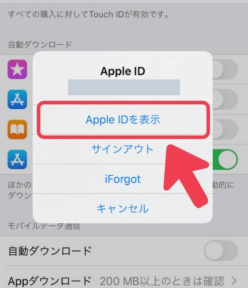 「Apple IDを表示」を選択