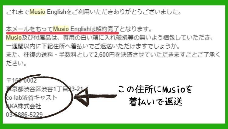 Musio English解約確認と返送